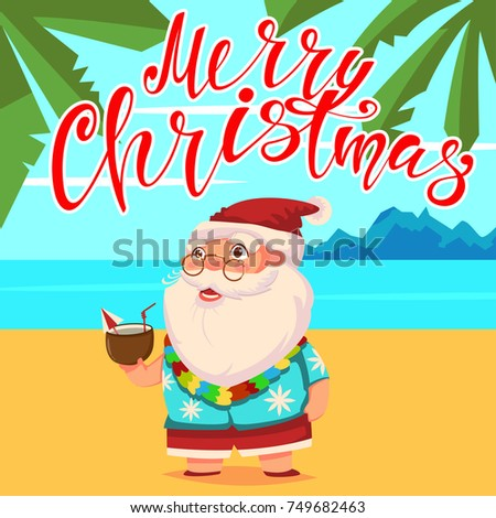 cef043321 Summer Santa Claus on the beach with palm trees in shorts and a Hawaiian  shirt with