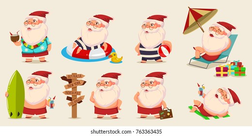Summer Santa Claus in shorts on beach vector set. Cute cartoon character for Christmas design isolated on background.