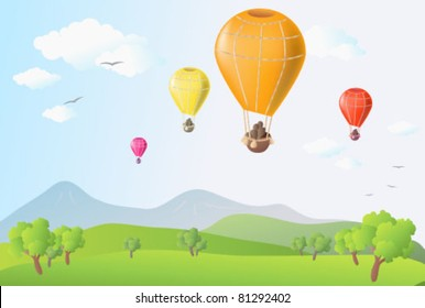 Summer scene with balloons in blue sky