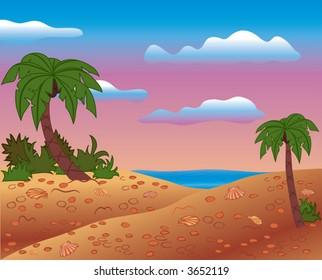 Summer scene, beach, palms, vector illustration