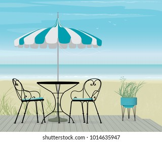 Summer Scene Bistro Table and Pagoda Patio Umbrella on a breezy day at the beach. Boardwalk, sand and sea with flock of birds. Easy edit layered file.