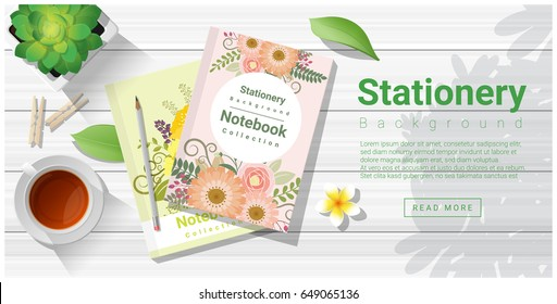 Summer scene with colorful notebooks on wooden table background , vector , illustration