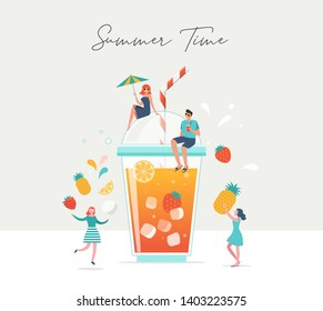 Summer scene, group of people, family and friends having fun against the huge glass of juice, fruit smoothie, surfing, swimming in the pool, drinking cold beverage, playing on the beach