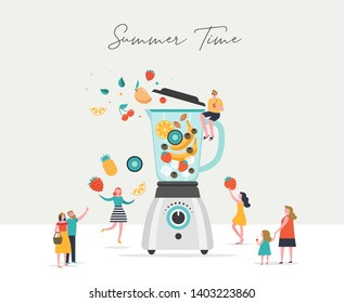 Summer scene, group of people, family and friends having fun against the huge blender, surfing, swimming in the pool, drinking cold beverage, playing on the beach