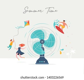 Summer scene, group of people, family and friends having fun against the huge fan, surfing, swimming in the pool, drinking cold beverage, playing on the beach