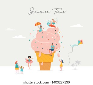 Summer scene, group of people, family and friends having fun against the huge ice cream, surfing, swimming in the pool, drinking cold beverage, playing on the beach