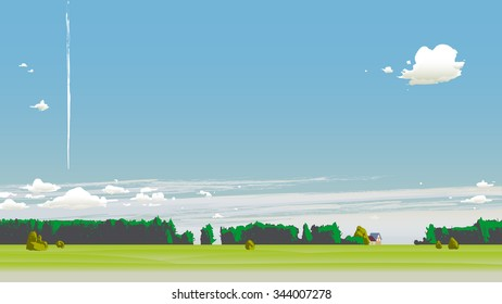 Summer scenery with clouds and plane trail.