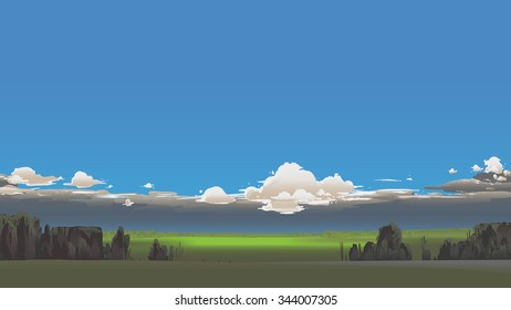 Summer scenery with dark clouds.