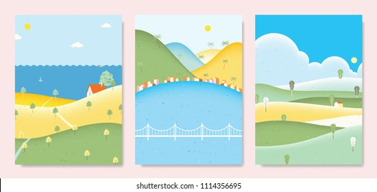 Summer scenery landscape, small house on the hill with sea, seaside small village with mountains and small house on the hill with clouds