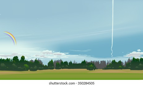 Summer scenery with rainbow and plane line.