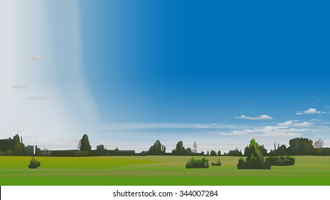 Summer scenery with scattered clouds