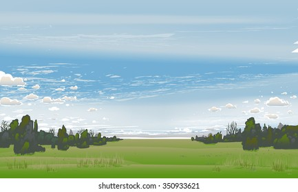 Summer scenery with scattered clouds.