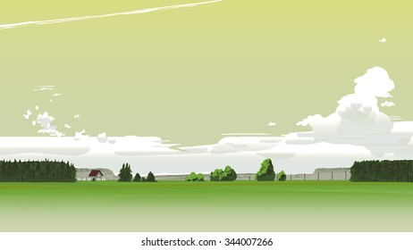 Summer scenery with yellow sky and clouds.