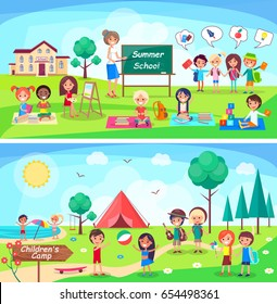 Summer school and childrens camp vector illustrations. Little cartoon kids play and study outdoors on nature on sunny weather.