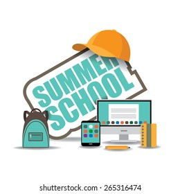 Summer school icon with computer, notebook, backpack and baseball cap. EPS 10 royalty free stock illustration for ad, promotion, poster, flier, blog, article, social media, marketing