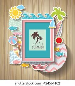 summer scrapbook. Holidays background on wooden texture