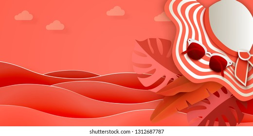 Summer sea background with sea, sunhat, sunglasses, monstera leaves and other tropical leaves. Hot summer, living coral, hot offer, top view, 3D vector illustration, Paper cut art style