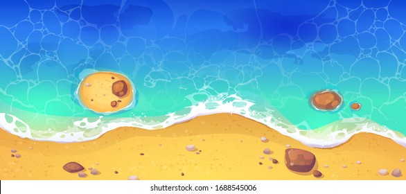 Summer sea beach top view. Sandy ocean shore with rocks. Vector cartoon illustration of coast with yellow sand, tropical seaside with blue water waves. Concept of paradise exotic vacation
