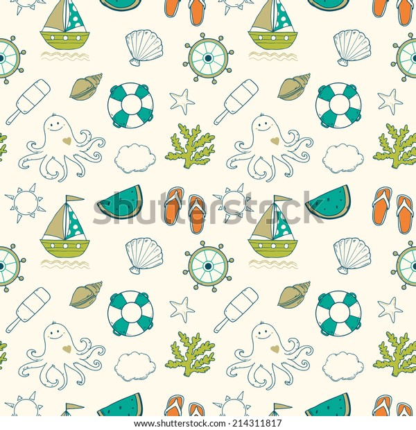 Summer sea cute pattern seamless with sea animals and marine items