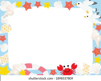 Summer sea Frame illustration of seagull, crab, shell  and starfish
