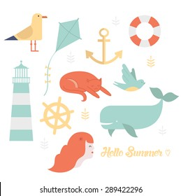 Summer and sea icons set include seagull, lighthouse, cat, girl, whale, kite, anchor, lifebuoy and bird. Cute vector illustrations