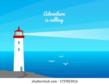 Summer sea landscape background. Lighthouse by the sea, ocean. Birds, seagulls, marlins fly into the cloudless sky. Holidays at sea. Adventure, travel, vacation. Nature abstract flat background.
