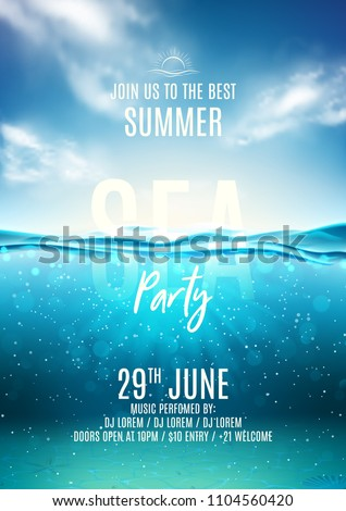 summer sea party poster template vector stock vector royalty free