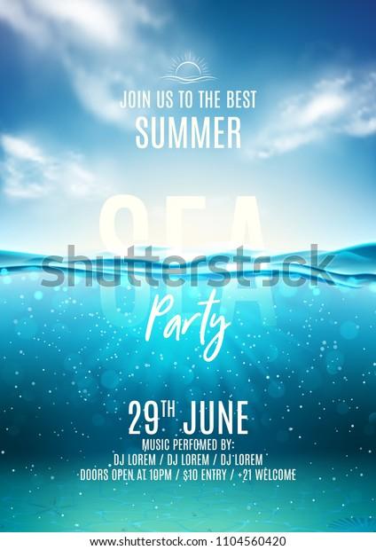 Летняя вечеринка шаблон плаката. Векторная иллюстрация с глубоким подводным океаническим сценой. Фон с реалистичными облаками и морским горизонтом. Приглашение в ночной клуб.