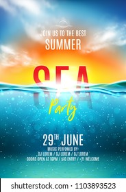 Summer sea party poster. Vector illustration with deep underwater ocean scene. Background with realistic clouds and sunset. Invitation to nightclub.
