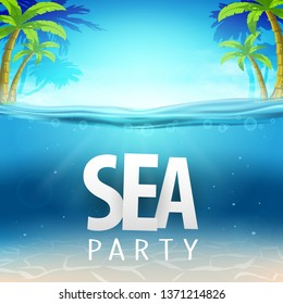 Summer sea party, sale posters. Vector illustration with deep underwater ocean scene. Background with realistic clouds and palms