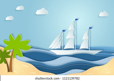 Summer sea picture origami made paper. Relax on the beach in summer in warm weather. Vector illustrations, paper art and digital crafts style.