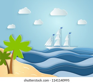 Summer sea picture origami made paper. a sandy Sunny island with a palm tree overlooking a beautiful ship. Vector illustrations, paper art and digital crafts style.