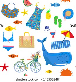 Summer and sea seamless pattern, funny design. Vector graphic illustration