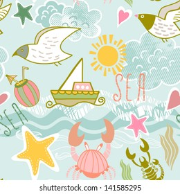 e6c1008e0dc17 Summer Sea seamless pattern. Vacation concept background. Seamless pattern  can be used for wallpapers