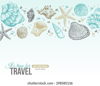 Summer Sea Shells Postcard Design. Vector Background with Place for Text.