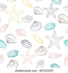 Summer sea shells. Vector background with seashells. Hand drawn illustration