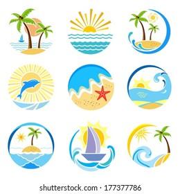 Summer, sea, sun. Vector.  EPS-10 (non transparent elements,non gradient).
