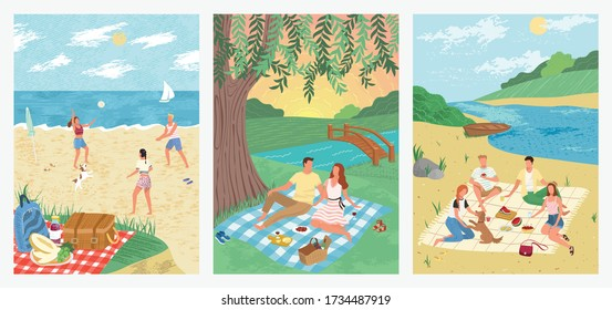 Summer sea vacation on tropical beach holiday concept vector illustration. People play volleyball on sand. Couple drink wine and watch sunset in a park. Friends at picnic, outdoor activity