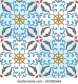 Summer sea vector pattern. A pattern of alternating squares with image of dolphins, hand wheels, life buoys and tides. The pattern is suitable for decoration of textiles and stationery.