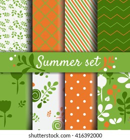 Summer seamles patterns set. Spring floral and abstract backgrounds Vector images