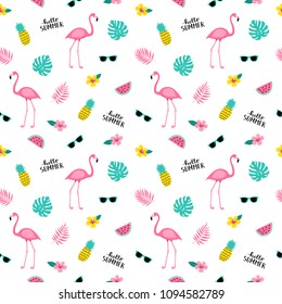 Summer seamless cute colorful pattern with flamingo, pineapple, tropical leaves, watermelon, flowers, sunglasses on white background. Vector illustration