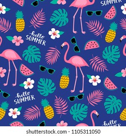 Summer seamless cute colorful pattern with flamingo, pineapple, tropical leaves, watermelon, flowers, sunglasses on blue background. Vector illustration