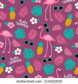 Summer seamless cute colorful pattern with flamingo, pineapple, tropical leaves, watermelon, flowers, sunglasses on purple background. Vector illustration