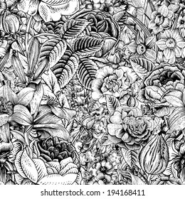 Summer seamless floral pattern. Vintage flowers Art. Black and white graphics. Roses, lilies, daffodils, tulips and delphinium. Monochrome.