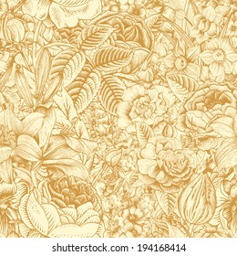 Summer seamless floral pattern. Vintage flowers Art. Gold flowers on a beige background. Roses, lilies, daffodils, tulips and delphinium.