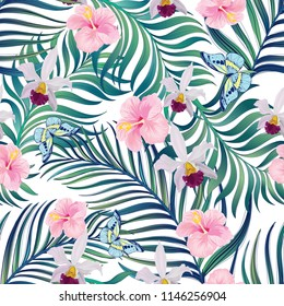 Summer seamless jungle pattern. Tropical illustration with palm leaves and exotic flowers.