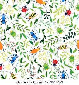 Summer seamless pattern. Colorful insects and plant vector illustration.