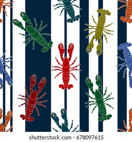 Summer seamless pattern with colorful lobsters.Colorful vector background.Textile texture