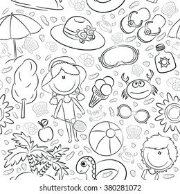 Summer seamless pattern with cute kids and beach objects