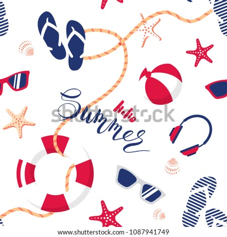 3831578aa37b96 Summer seamless pattern. Cute summer nautical background. Vector  illustration